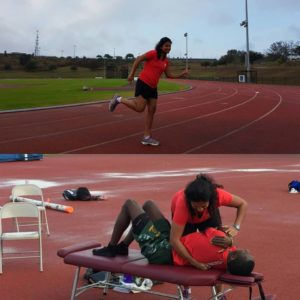 Dr. Lopes treating track & field athletes at the National Training Centre in Clermont, Florida.
