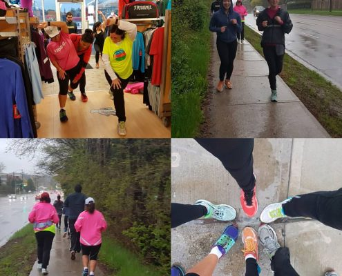 Dr. Lopes out with the 10km clinic at the York Mills Running Room.