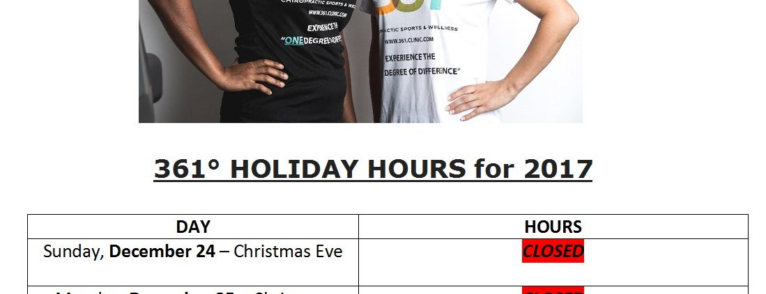 2017 361 holiday hours